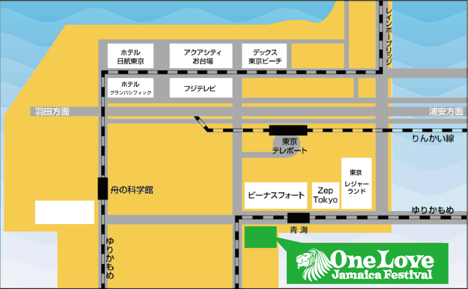 ONE LOVE JAMAICA FESTIVAL HIBIYA MAP